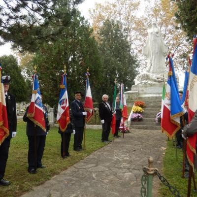 Cérémonie en hommage aux combattants Italiens morts en France entre 1915 et 1918 .  Cimetière de la Guilliotière dimanche 2 novembre 2014 .