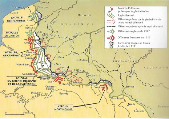 Carte article front 1917 nord est