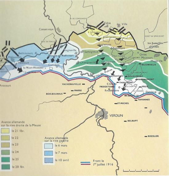 Front occidental avance allemande 1916