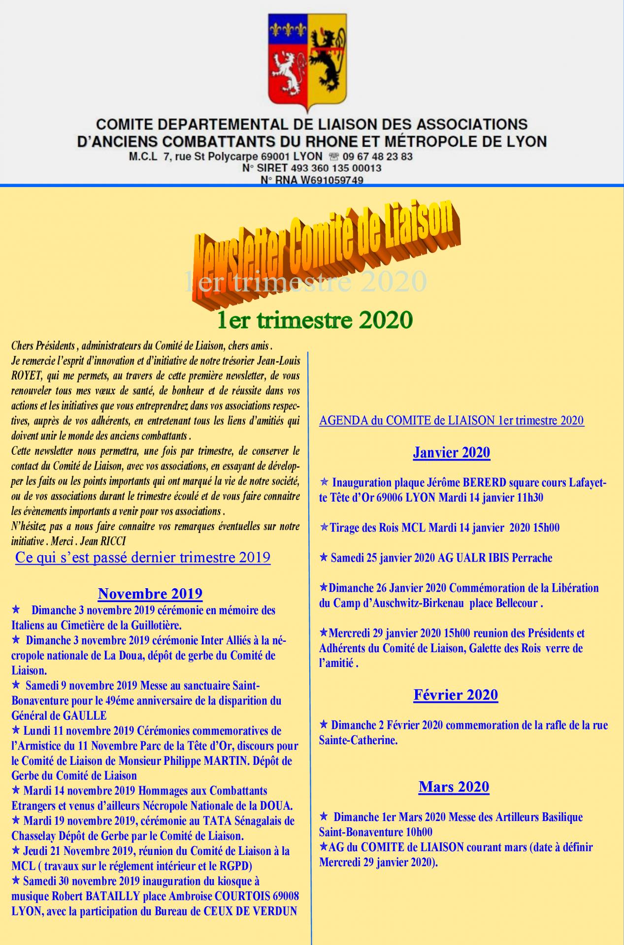 Newsletter comite de liaison 2020 1