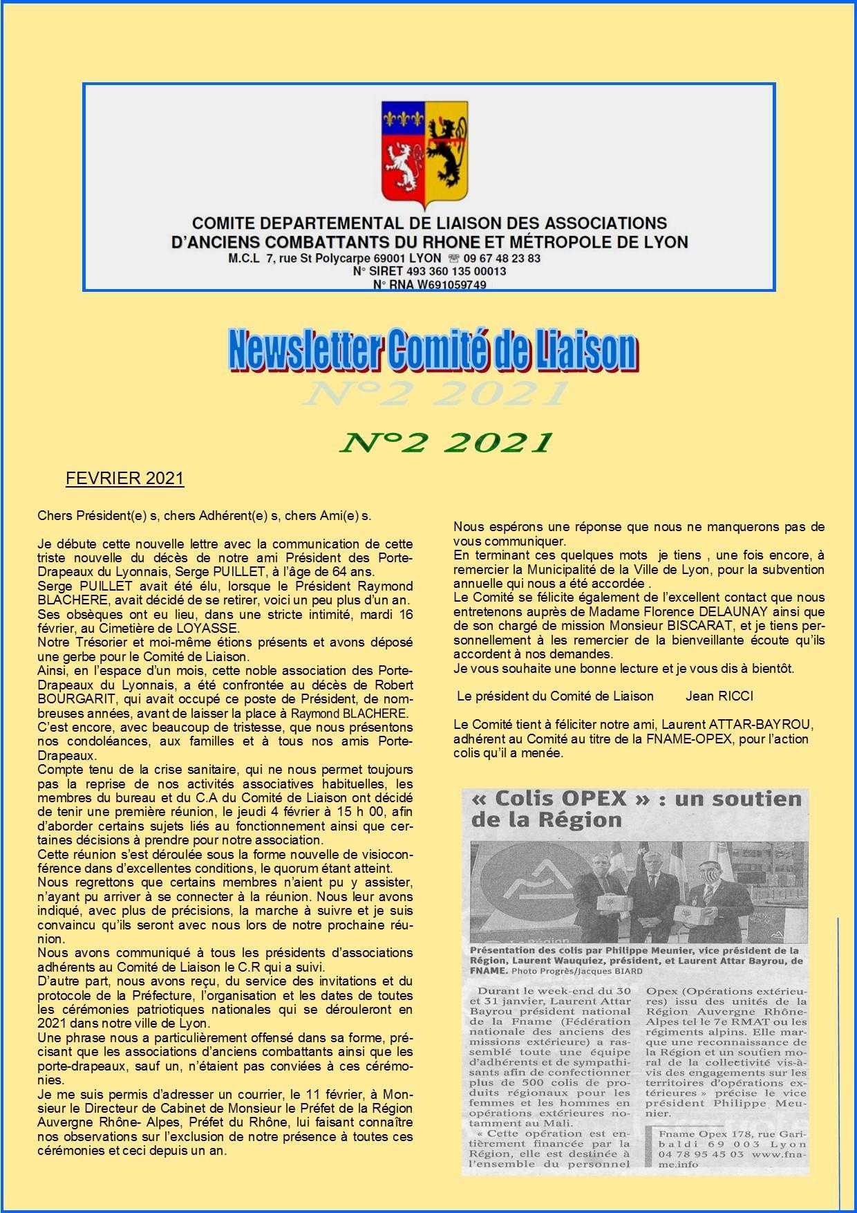 Newsletter comite de liaison n 02 2021