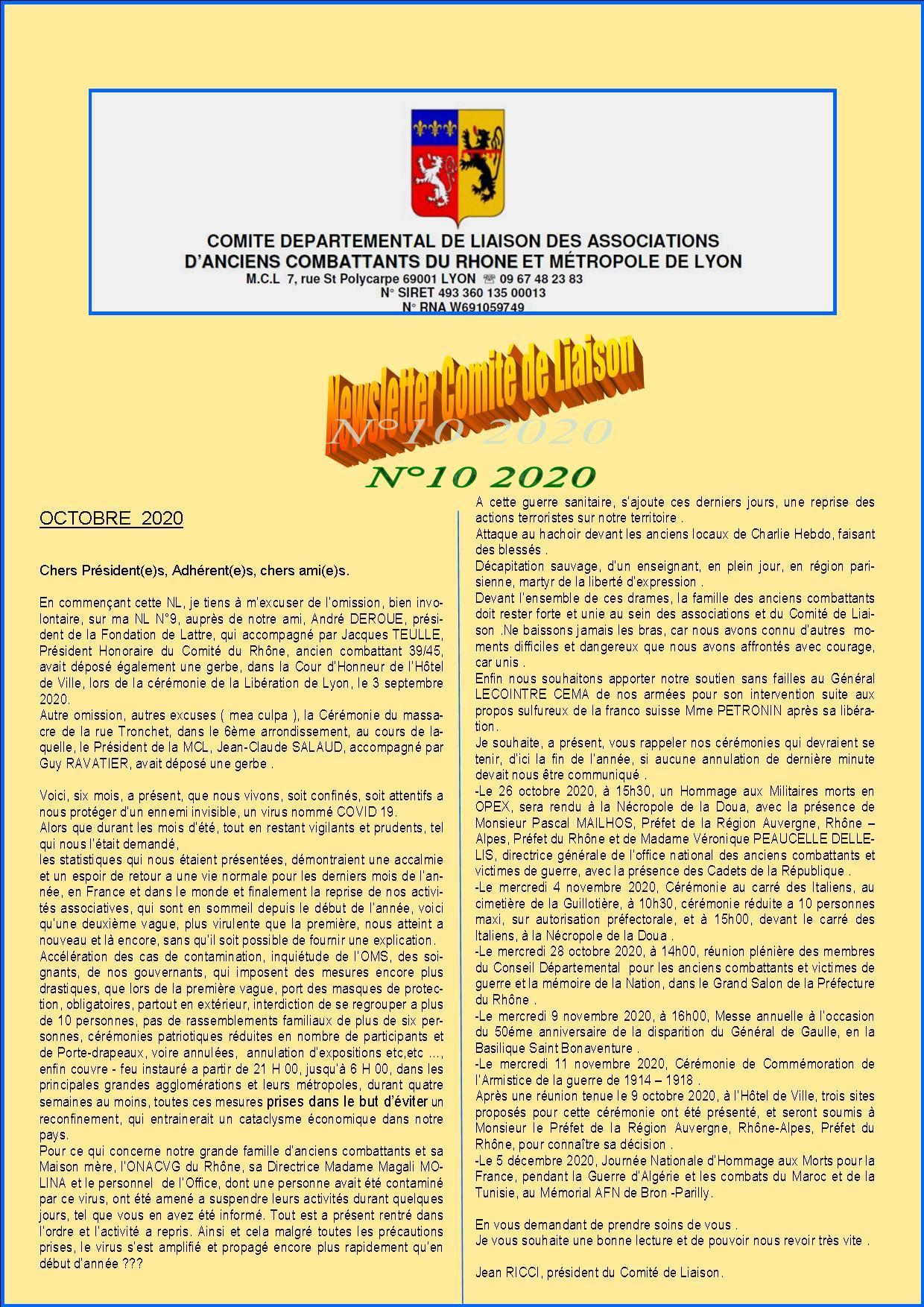 Newsletter comite de liaisonn 10 2020