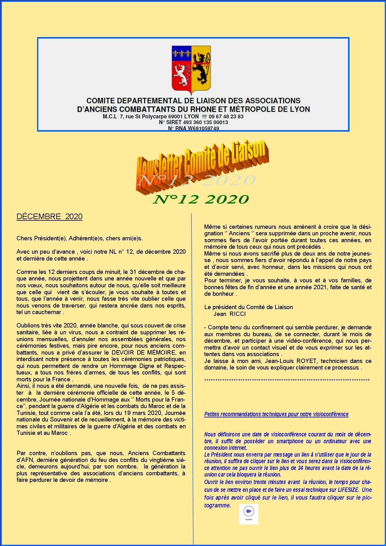 Newsletter comite de liaisonn 12 2020