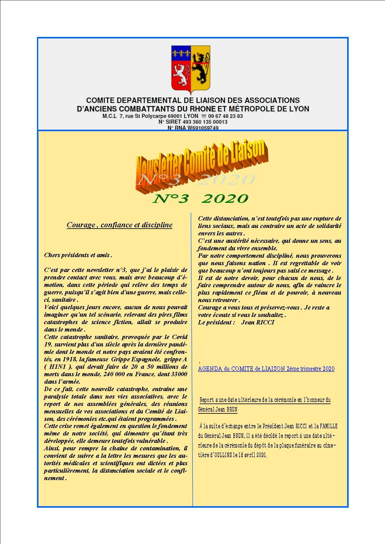 Newsletter comite de liaisonn 3 2020