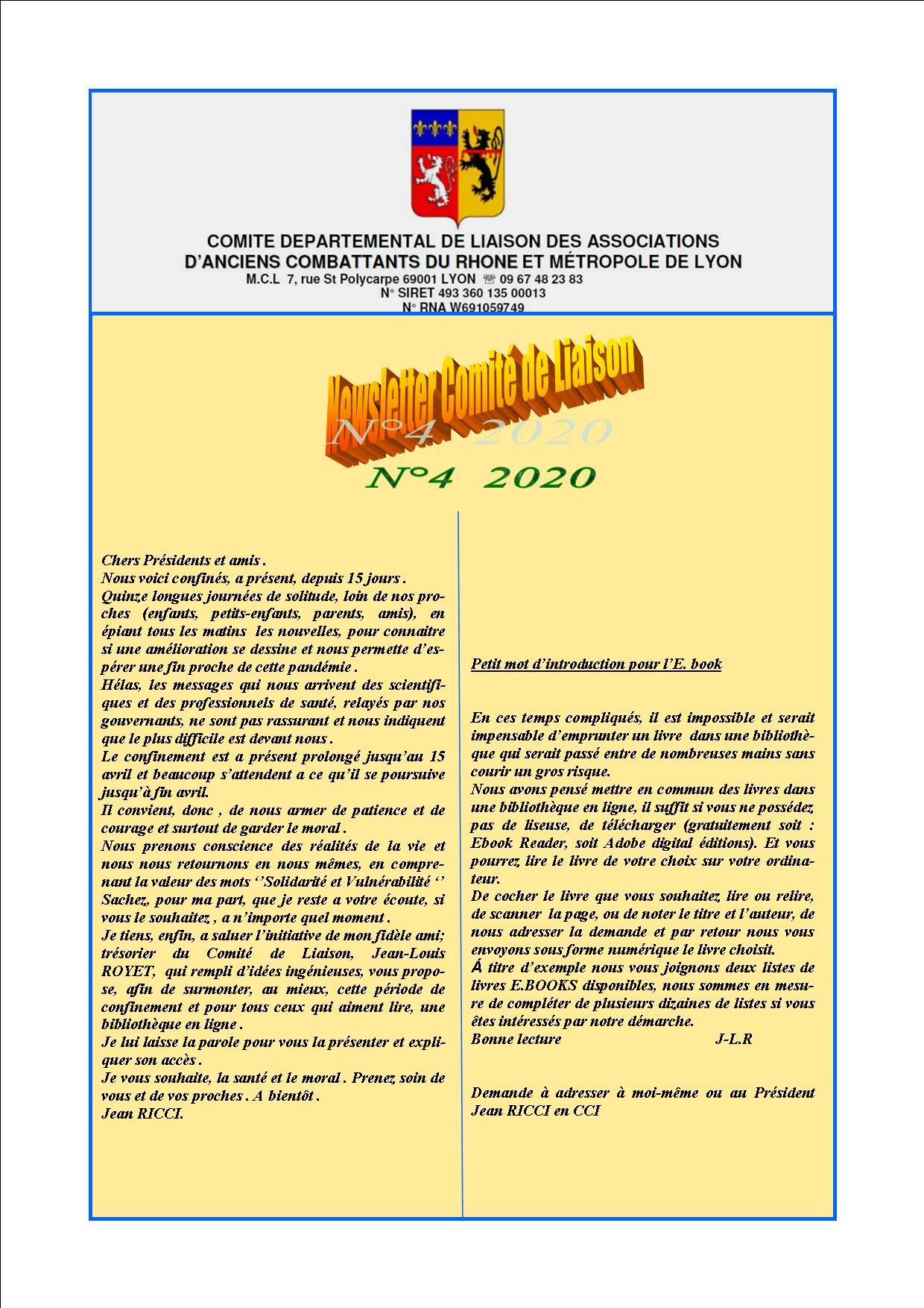 Newsletter comite de liaisonn 4 2020