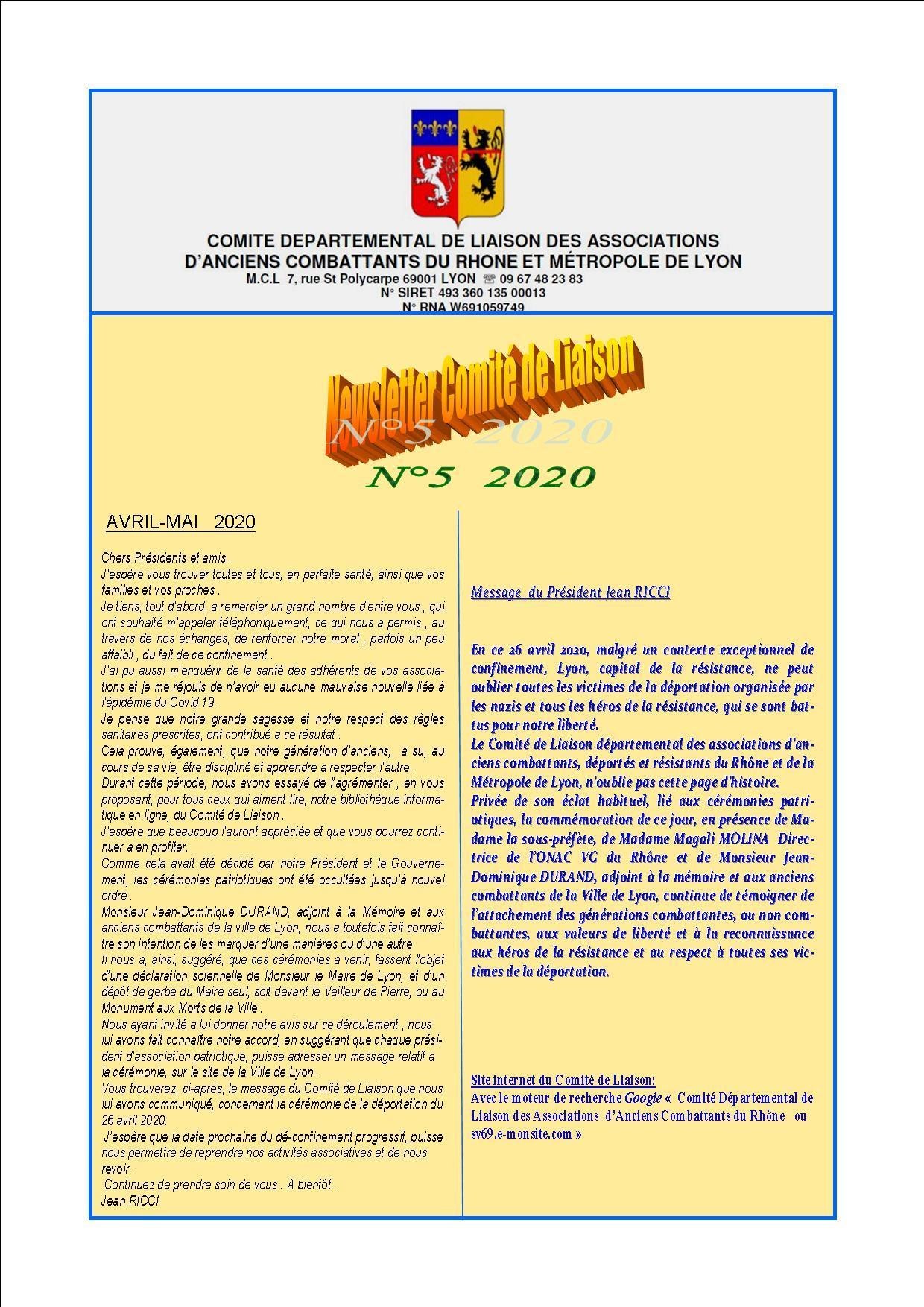 Newsletter comite de liaisonn 5 2020