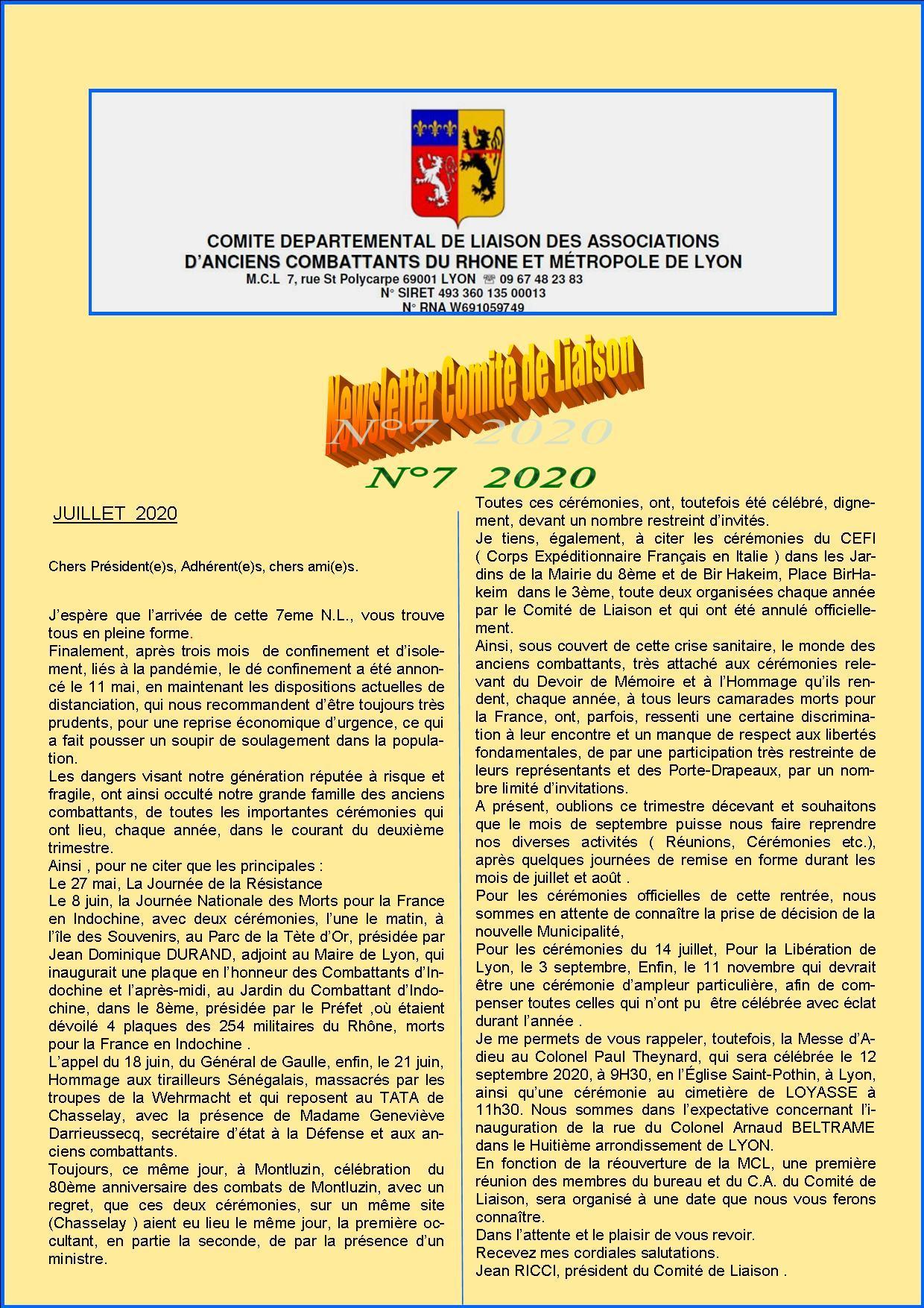 Newsletter comite de liaisonn 7 2020