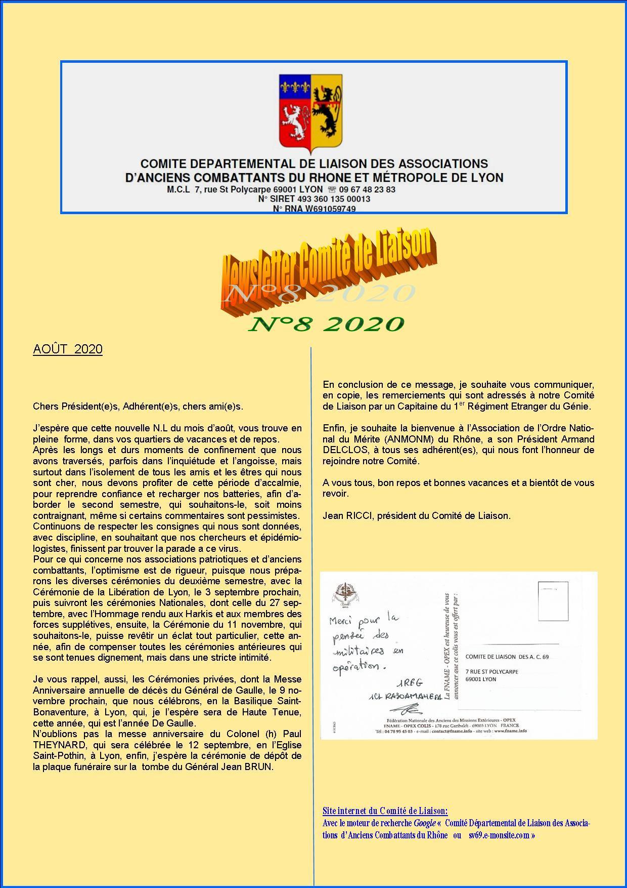 Newsletter comite de liaisonn 8 2020