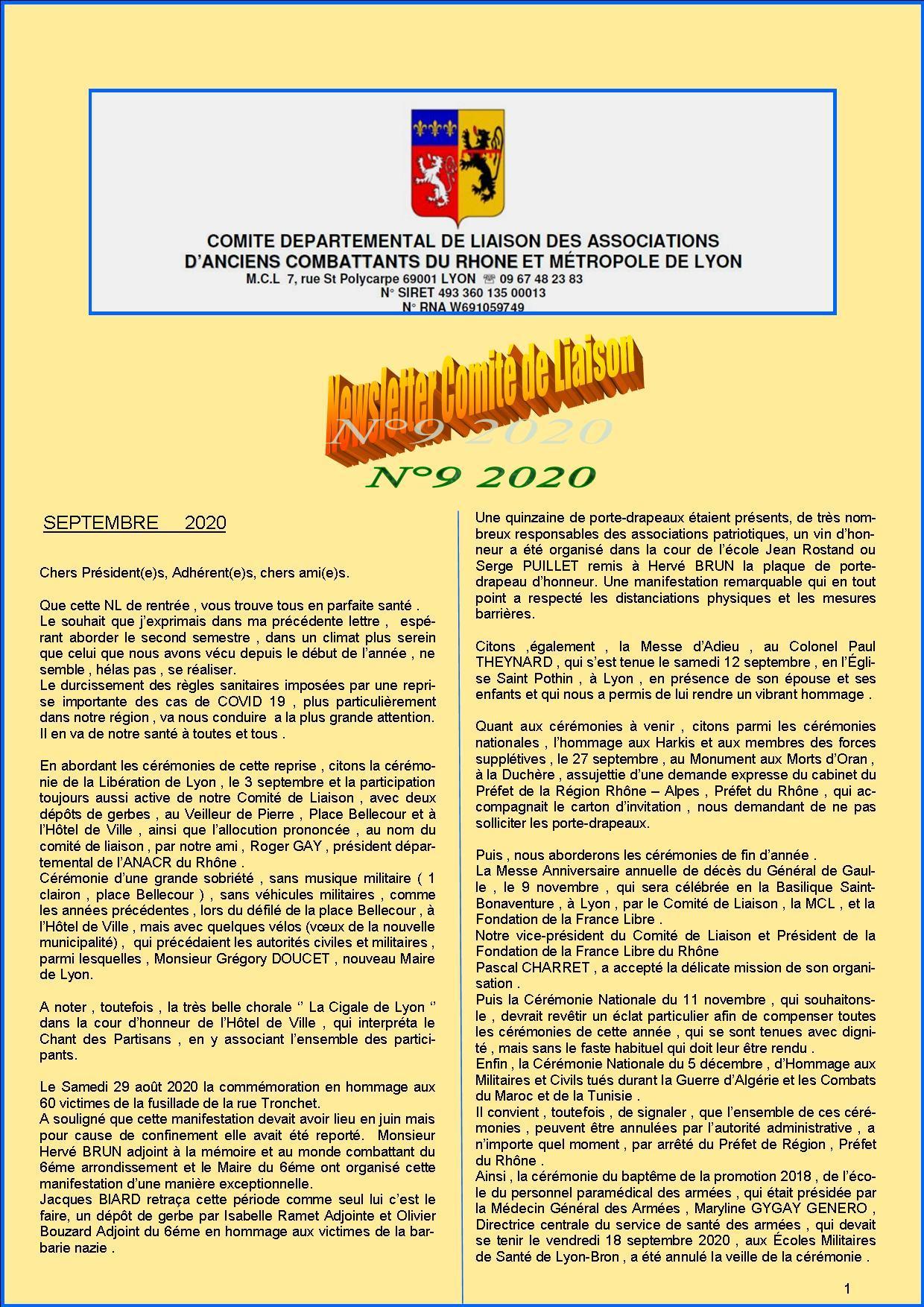 Newsletter comite de liaisonn 9 2020